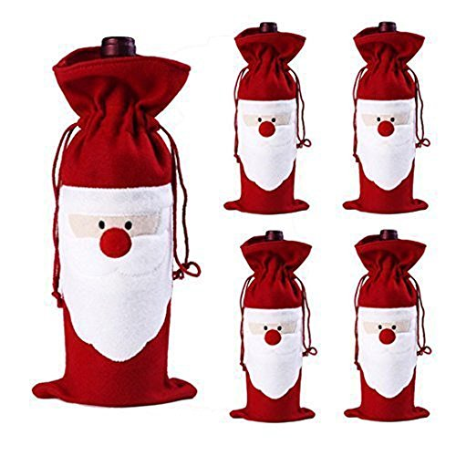 Xmas Wine Bottle Cover Bags,Megadream 5 PCS Christmas Santa Claus Wine Bottle Decoration Bag Cover for Xmas Gift Set Party Home Returant Dinner Table Decor