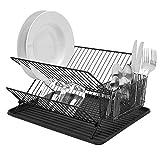 Simplywire-Égouttoir à vaisselle pliable-durable plaque Egouttoir avec Range-couverts Panier-Noir