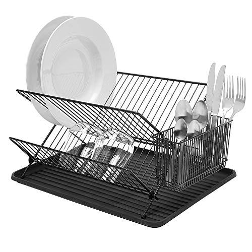 Simplywire - Escurreplatos plegable - Escurridor de platos duradero con soporte para cubiertos - Negro