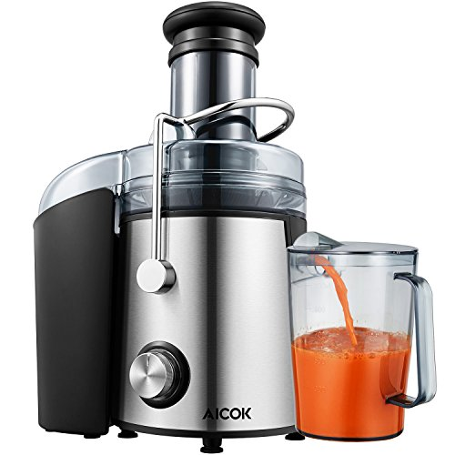Juicer Aicok Whole Fruit Juicer with 75mm Wide Mouth, 800W Centrifugal Power Juicer, Juicer for Fruit and Vegetables, 2 Speed with Juice Jug and Cleaning Brush