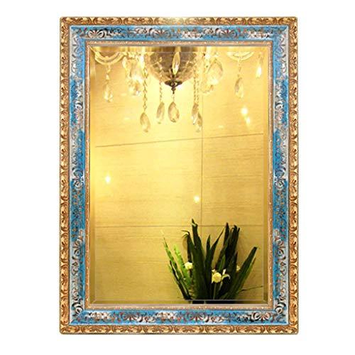 Miroirs Mural Carré Européen De Salle De Bain Bleu Mer Suspendu Suspendu pour Salle De Bain Manuel (Color : Yellow, Size : 45x60cm)