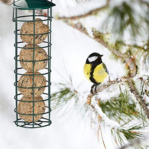 Kaerishop Outdoor Bird Feeder Futterspender Wild Bird Feeding Station Knödel Fett Ball Halter für Tit Small Wild Birds Dunkelgrün - Wild Bird Feeding Station