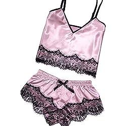 Honestyi Conjuntos de Lencería Sexy Camisolas Culottes Shorts para Mujeres de Dormir Satén Seda Babydoll Lace Up Pijamas de Noche Sin Mangas Correa Borde Traje Encaje Atractivo Cami Top A16