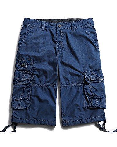 Herren Cargo Shorts Cargohose kurze Hose Loose Fit aus Baumwolle Hosentasche Overall #3288 Sapphire Blue