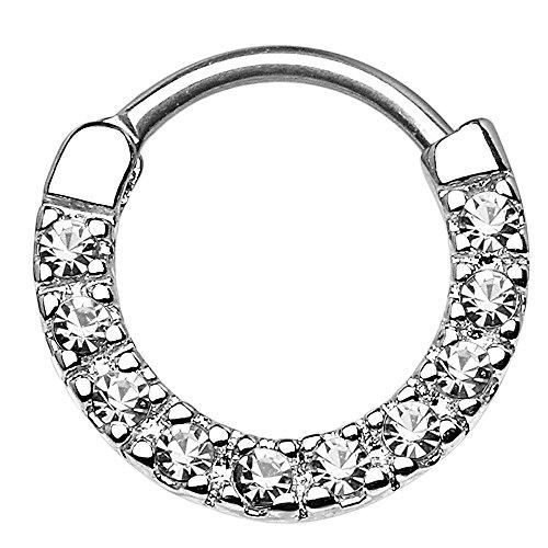 Piercingfaktor Universal Piercing Scharnier Schild Ring Tribal Vintage mit Strass Kristall Septum für Tragus Helix Ohr Nase Lippe Intim Nippel Silber Clear 1,2mm