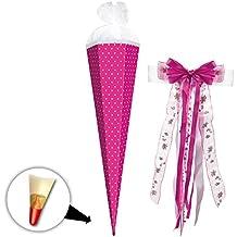 Länge weiß mit pinken Krepp rund Bastel Schultüte 35cm Farbe