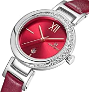 Naviforce Women's Red Dial PU Leather Analog Watch - NF5007