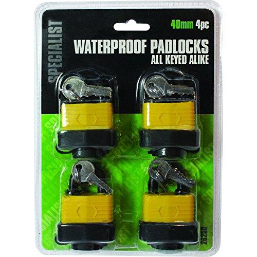 Vorhängeschlösser / Bügelschlösser, wasserdicht, laminiert, für Tore / Türen / Werkzeugkästen, 40mm Bügel, 4 Stück mit 8Schlüsseln