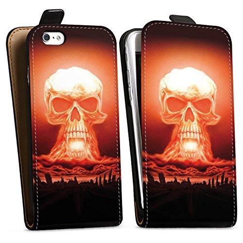 Apple iPhone X Silikon Hülle Case Schutzhülle Explosion Totenkopf Stadt Downflip Tasche schwarz