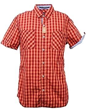 C3180 camicia uomo BREAD&BUTTONS rosso arancione shirt men sleeveless
