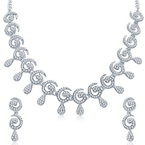 Sukkhi Rhodium Plated Australian Diamond Necklace Set for Women
