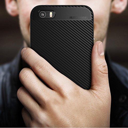 WindCase iPhone SE Coque, Prime Hybride Etui Anti-scratch Bumper Housse Dual Layer Case en Fibre carbone pour iPhone 5 / 5S / SE Gris Argent