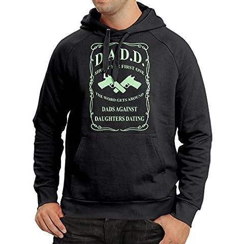 Sweatshirt à capuche manches longues Les papas contre les filles datant drôle t shirts pour papa drôle cadeaux pour hommes (Small Noir Fluorescent)