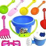 Naisicatar 9 PCS / Set Helle Bunte Strand Spielzeug festem Kunststoff Sand Spielzeug-Set für Kinder mit Eimer in Reusable Net Bag Amusant Spielzeug