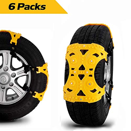 Mount Snow (Auto Winter Universal Snow Chains Easy to Mount Tire Snow Chain for Any re Set of 6, Yellow)