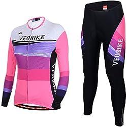 Asvert Malliots Ciclismo Mujer Largos Jersey + Pantalones + 3D cojín Transpirable y Cómodo Conjunto de Ciclista para Deporte al Aire Libre (XL, Rosa)