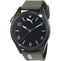 Puma Atomic Men's Quartz Watch with Black Dial Analogue Display and Green Polyurethane Strap PU103941001