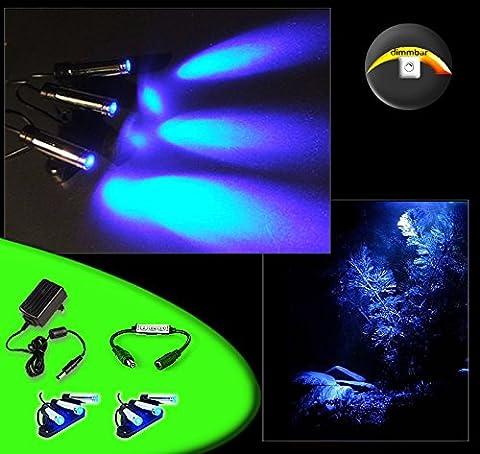 CREATIVE LIGHTS Aquarium Mondlicht dimmbar, LED 6-fach Spot schwenkbar - Komplettset inkl. Netzteil und