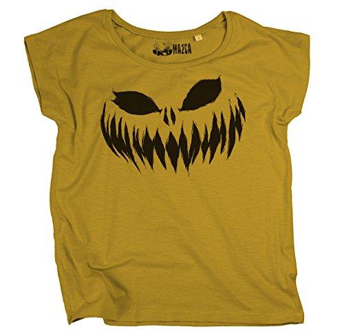 Ma2ca® Halloween Pumpkin Smiley black Frauen T-Shirt Sols Scoop-amber-l