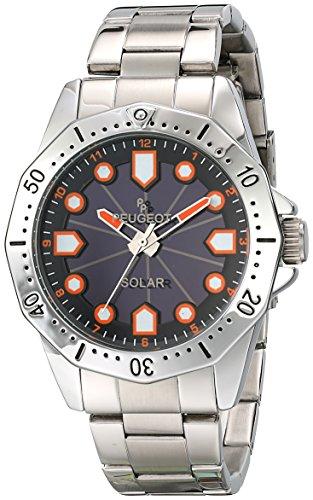 Peugeot Men's Solar Powered Silver Stainless Steel Bracelet Orange Face Dress Bracelet Watch 1021