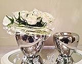 2er Set Keramik Vase Silber Urne Blumenvase Dekovase Tischvase Shabby Chic 9544-22/18