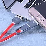 Demiawaking 2 in 1 Micro USB+Type-C Sync Cavo di Dati e di Ricarica per Android Rosso