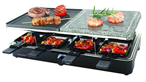 Korona 45051 Raclette Grill für 8 Personen - Tischgrill mit 8 Pfännchen und 8 Spatel - antihaftbeschichtete Grillplatte - Grillstein