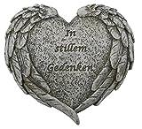 Herz mit Flügeln In stillem Gedenken, 9 cm, grau / Grabschmuck Grabherz