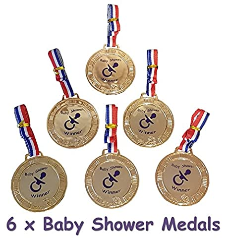 Baby Shower Party Games - 6 Baby Shower PRIZES / FAVORS - Medals #M