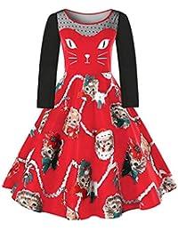 VJGOAL Mujer Otoño e Invierno Talla Grande Moda Casual Impresión de Navidad Gatito Costuras de Encaje O-Cuello Cintura Alta, Manga Corta/Manga Larga Vestido de Falda
