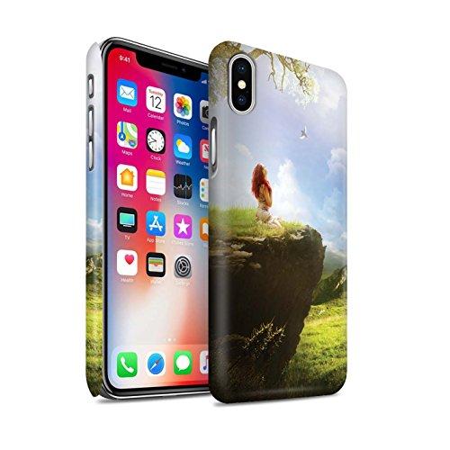 Officiel Elena Dudina Coque / Clipser Matte Etui pour Apple iPhone X/10 / Lagune de Montagne Design / Fantaisie Paysage Collection Champ Vert