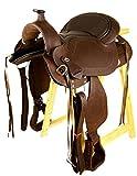 Baumloser Westernsattel PORTLAND aus geöltem Büffelleder mit Klettkissen, Größe:17 Zoll