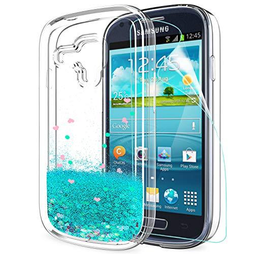 LeYi Hülle Galaxy S3 Mini Glitzer Handyhülle mit HD Folie Schutzfolie,Cover TPU Bumper Silikon Flüssigkeit Treibsand Clear Schutzhülle für Case Samsung Galaxy S3 Mini Handy Hüllen ZX Turquoise