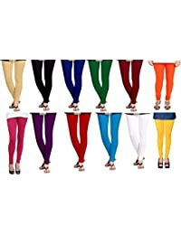 Super weston Women's Cotton Churidar leggings(Multicolour, Free Size) - Pack of 12