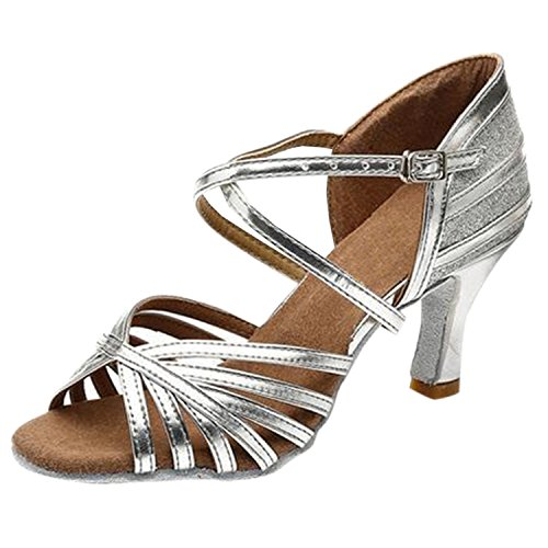 Azbro Women's Open Toe Hollow Out Buckle Strap Latin Shoes Silver