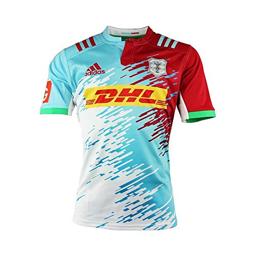 Harlequins 2016/17 Kids Alternate S/S Replica Rugby Shirt - White/Red Beauty/Frost Blue - size 11-12YRS - Rugby-shirt Für Jungen