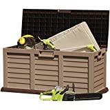 Large Plastic Garden Storage Box Chest, Weatherproof with Durable, & Lockable Sit-on Lid, 440L Capacity