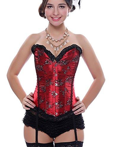 Top Dentelle Bustier Lingerie Corset victorienne pour femmes avec des jarretières pour Showgirl Rouge S