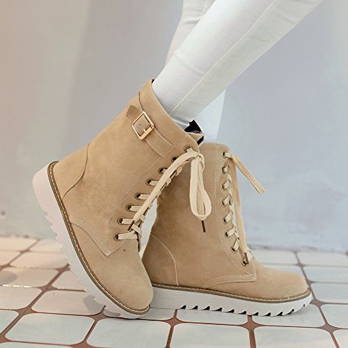 Mee Shoes Damen flach Nubukleder adjustable strap Stiefel Beige