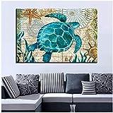 Impressions Sur Toile Affiche Home Decor Tortue De Mer Peinture Salon Animaux Marins Monde Sous-marin Photos Mur Art-50x70cm No Frame