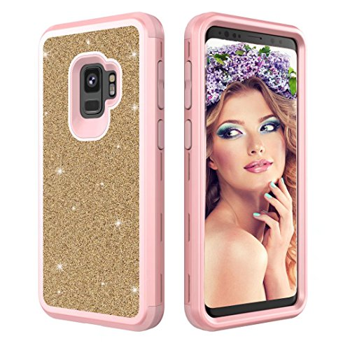 Coque Samsung Galaxy S9 Plus,Aearl Samsung Galaxy S9 Plus Coque Luxe Shiny Brillante Glitter Double 3 In 1 Hybrid Hard PC Arrière Shell +Doux Silicone Bumper Full-Body 360 Coverage Antichoc Protection Housse pour Samsung Galaxy S9 Plus-Rose Or + Or