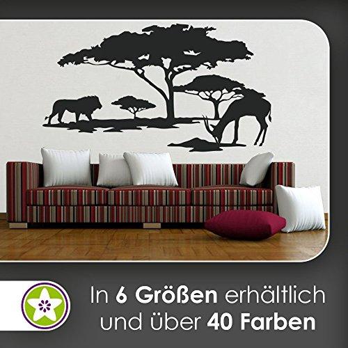 hauptsachebeklebt KIWISTAR Afrika Motiv Löwe u. Antilope Wandtattoo in 6 Größen - Wandaufkleber Wall Sticker (Antilope-größe 6)
