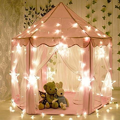 aPerfectLife Tente de jeu pour enfants Château de Princesse Tente de jeu Maison de Jouet Château de Princesse de fées avec LED Star Light(Rose)
