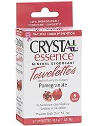 Crystal Essence Lingettes biodégradables imprégnées de déodorant minéral - Extraits et huiles essentielles de...
