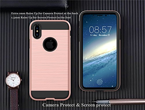 Cover iPhone X E-TNT® 2017 apple custodia iPhone X [2 strati protetti] protezione supporto originali silicone case , [Processo di trafilatura] skin Morbida chiara ferragni bumper iPhone
