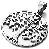 mendino Tree of Life Irish Edelstahl Anhänger Halskette glatten hohl Herren Damen Silber Farbe mit 55,9cm Link Kette