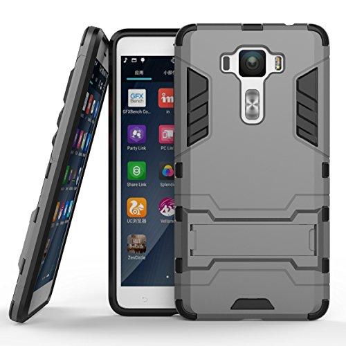 Ycloud Tasche für ASUS ZenFone 3 Deluxe ZS550KL Hülle, stärkste Telefon Shock Proof Armor Dual Schutzabdeckung Hochfeste PC Kunststoffoberschale Shockproof mit Halterung Schutzabdeckung Grau