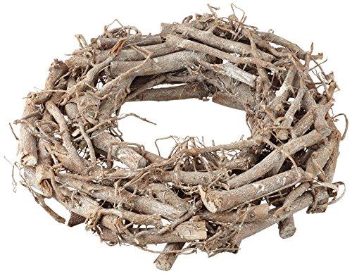Rayher Hobby 65013000 Weidenkranz, weiß gewischt, 30 cm ø, Höhe 8 cm, Adventskranz, Türkranz, Naturkranz, Weidenring, Kranz aus Weide