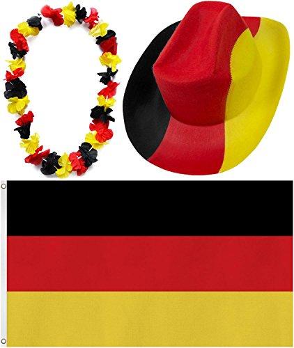 Fußball Cowboyhut, Hawaiikette und Deutschland Fahne Fan Artikel im Set Farbe 1 Stück