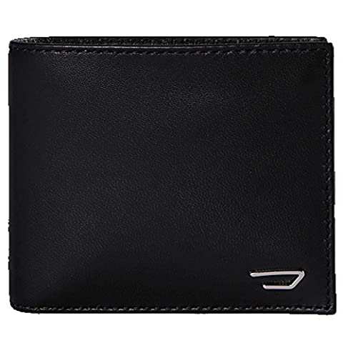 Diesel Hiresh S Black Leather Bi-fold Wallet With Coin Pkt